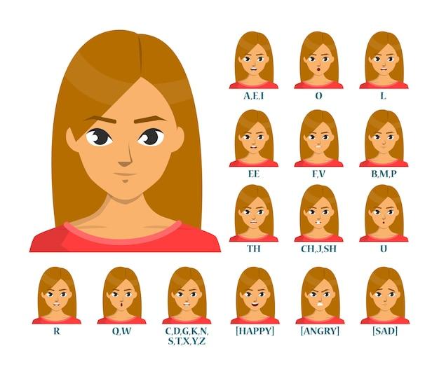 Animazione della bocca isolata. movimento delle labbra, espressione del viso. movimento del labbro per l'educazione inglese. il volto umano pronuncia il suono.