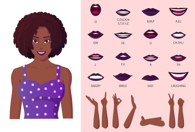 Animazione della bocca e creazione di sincronizzazione labiale. bella donna nera afroamericana che indossa abito viola con capelli ricci afro.