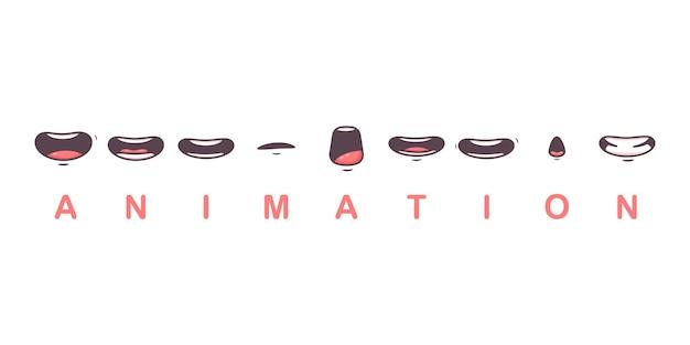 Le labbra piatte del fumetto di vettore di animazione della bocca parlano il carattere di espressione isolato su un fondo bianco.