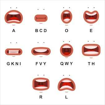 Animazione della bocca con occhi carini. le labbra piane del fumetto parlano il carattere di espressione isolato su una priorità bassa bianca.