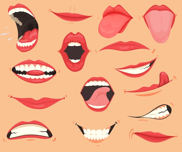 Espressioni della bocca. labbra con una varietà di emozioni, espressioni facciali.