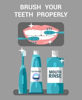 Illustrazione di igiene della bocca. lavati i denti correttamente.