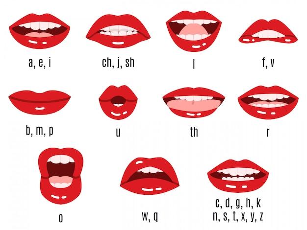 Pronuncia del suono della bocca. animazione dei fonemi delle labbra, espressione delle labbra rosse parlate, sincronizzazione della pronuncia vocale e set di simboli. parla inglese, parla suono e parla illustrazione