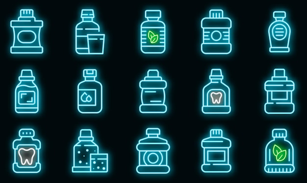 Set di icone di collutorio. contorno set di icone vettoriali collutorio colore neon su nero