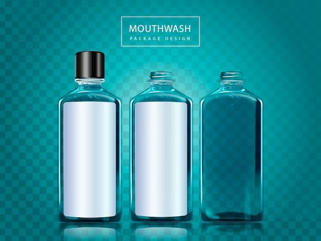 Design della confezione di colluttorio, tre bottiglie con uno spazio vuoto per la modifica e il design, illustrazione 3d isolata