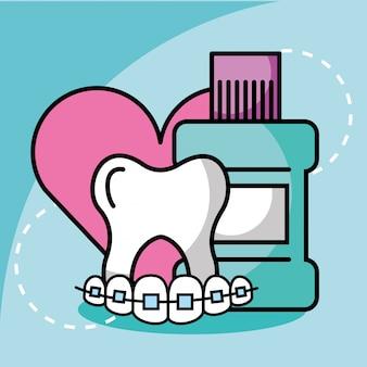 Amore per il dentifricio e l'ortodonzia dell'odontoiatria