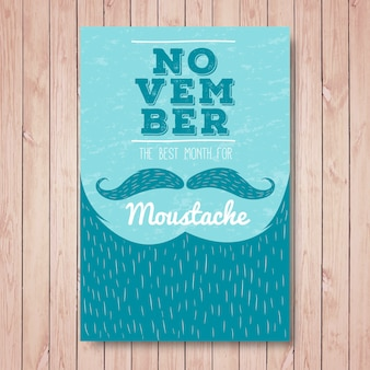 Movember brochure barba vintage con linee disegnate a mano
