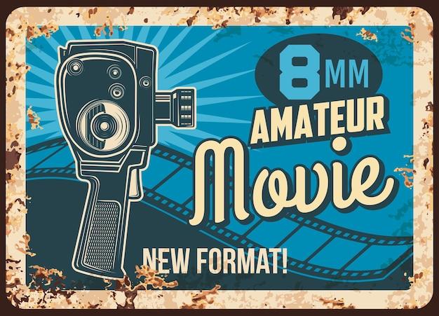 Disegno dell'illustrazione di piastra metallica arrugginita amatoriale di film