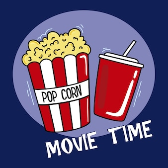 Film di sfondo whith popcorn e soda