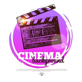 Insegna del cinema di film con l'illustrazione disegnata a mano di schizzo