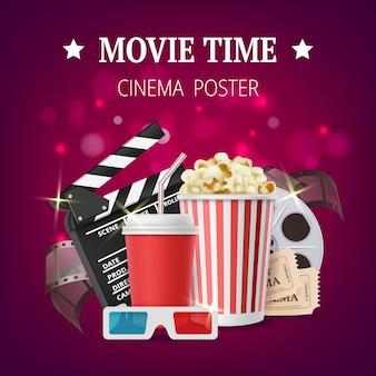 Cartello di film, cinema con simboli di produzione cinematografica, nastri stereo, occhiali, popcorn, ciak