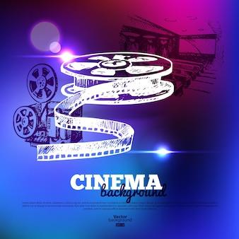 Manifesto del cinema cinematografico. sfondo con illustrazioni di schizzi disegnati a mano ed effetti di luce