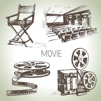 Set di film e cinema. illustrazioni d'epoca disegnate a mano