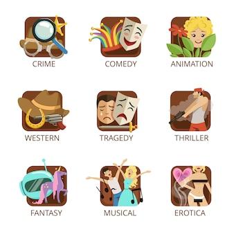 Set di generi cinematografici, crimine, commedia, animazione, western, tragedia, thriller, fantasy, erotica musicale illustrazioni colorate su sfondo bianco