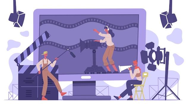 Concetto di industria cinematografica. la produzione cinematografica di cinematografia, la squadra di ripresa del film ha isolato l'illustrazione del fondo di vettore. scena concettuale del cinemamaking