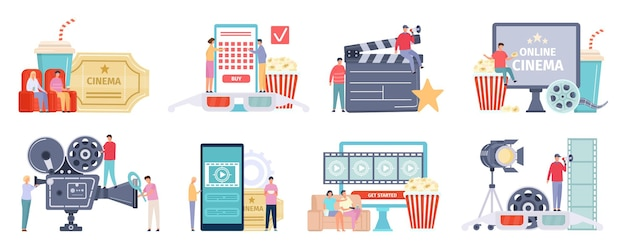 Industria cinematografica, cinema o concetti di cinema online. persone dei cartoni animati che guardano film al telefono o in tv e acquistano un set vettoriale di biglietti. ripresa dei lavoratori con attrezzature e visitatori