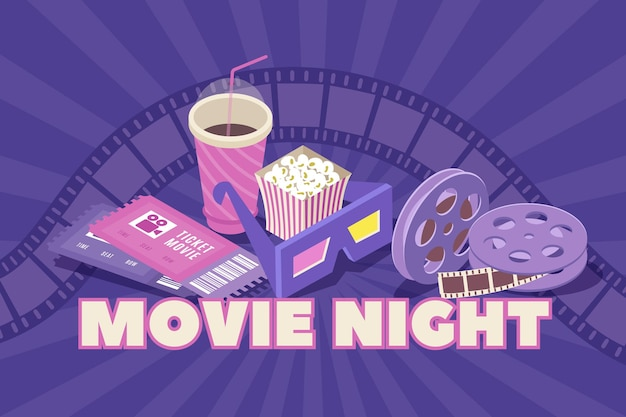 Composizione isometrica di una notte di film con bobine di film di biglietti per il cinema popcorn di occhiali polarizzati 3d