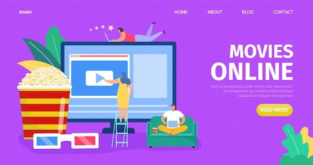 Film online, illustrazione di media video. schermo del computer con cinema digitale web online, tecnologia multimediale.