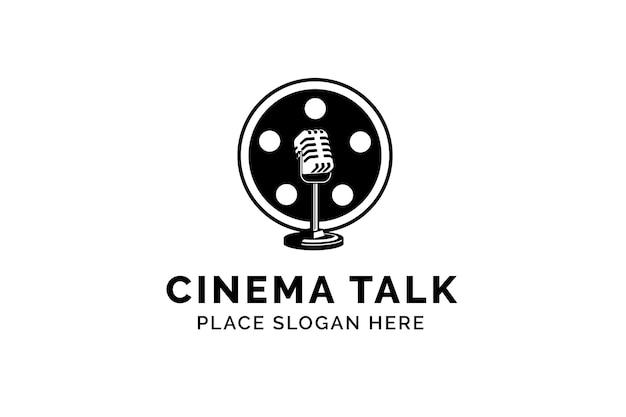 Modello di logo di vettore di podcast di film. microfono microfono e illustrazione del logo della bobina di film.