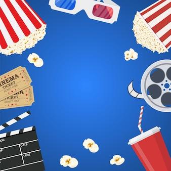 Modello di manifesto del film. popcorn, soda da asporto, occhiali da cinema 3d, bobina di film e biglietti. progettazione cinematografica. illustrazione vettoriale in stile piatto