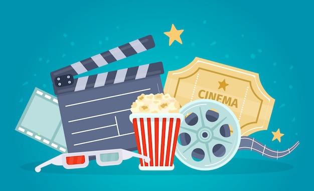 Locandina del film con bobina di film, assicella, popcorn e biglietti. banner per guardare film con occhiali 3d. concetto di vettore del teatro del cinema del fumetto