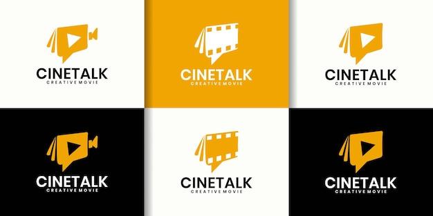 Collezione di design di loghi per parlare di film, chat del regista