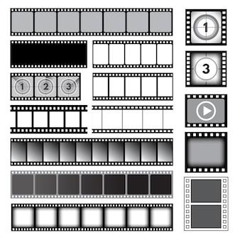 Nastro di film. raccolta di foto di cornici per fotocamere a pellicola. modello di cornice della bobina del cinema, pellicola di immagine della striscia di foto, video e illustrazione dei media