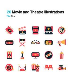 Illustrazione piatta del cinema e del teatro