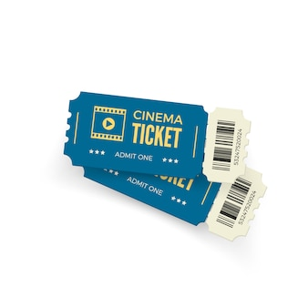 Biglietto del cinema. biglietti del cinema blu su sfondo bianco. modello di biglietto del cinema realistico. illustrazione
