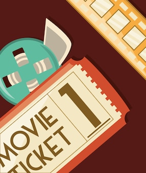 Il biglietto del cinema e il film rotolano su sfondo rosso