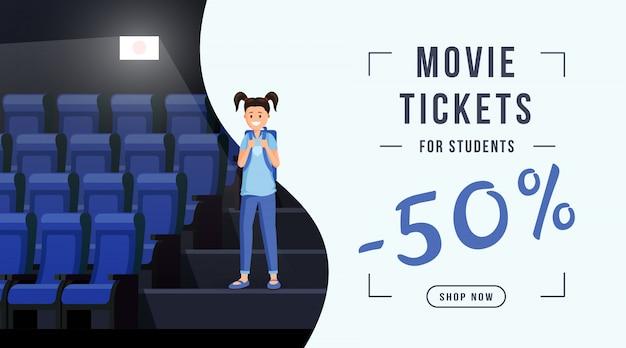 Modello dell'insegna di vendita dei biglietti di film