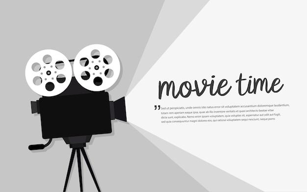 Concetto di tempo del film. design del banner del cinema