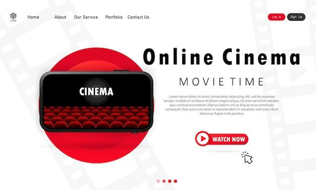 Illustrazione dell'ora del film. cinema online sul tuo telefono. guarda i film a casa durante la pandemia. vettore env 10. isolato su priorità bassa bianca.