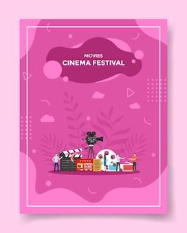 Illustrazione del festival del cinema di film per modello di poster Vettore Premium