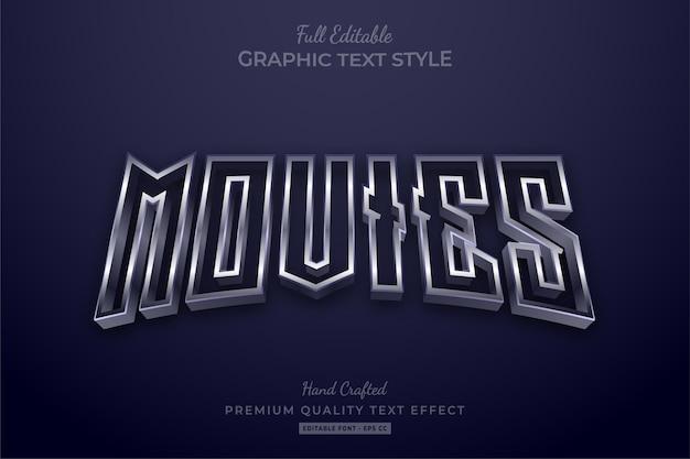 Film effetto stile testo premium modificabile argento