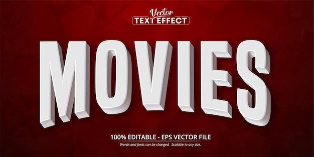 Testo di film, effetto di testo modificabile in stile film bianco 3d