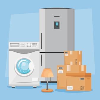 Illustrazione di elettrodomestici e scatole in movimento