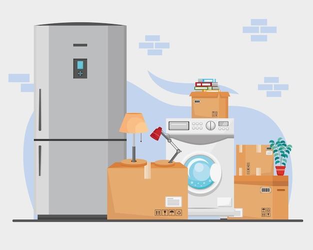 Illustrazione di scatole ed elettrodomestici per traslochi