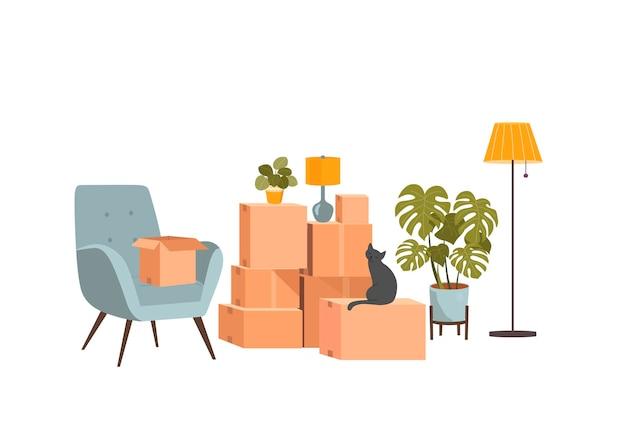 Scatoloni e mobili per trasloco. illustrazione di stile piatto vettoriale