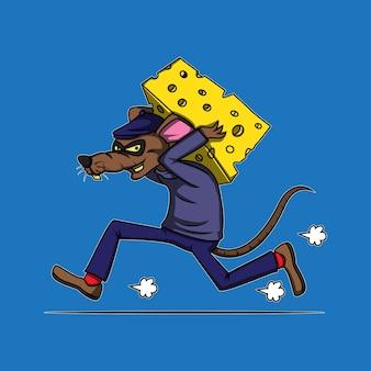 Scassinatore di topo di formaggio in movimento