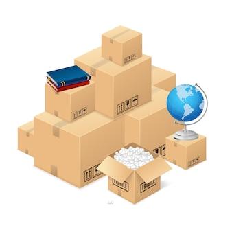 Concetto in movimento con una pila di scatole di cartone. trasporto di cose fuori casa. illustrazione vettoriale