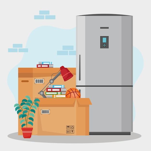 Illustrazione di frigorifero e scatole in movimento