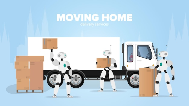Banner di trasloco. trasferirsi in un nuovo posto. un robot bianco tiene una scatola. scatole di cartone. il concetto del futuro, consegna e carico delle merci tramite robot. vettore.