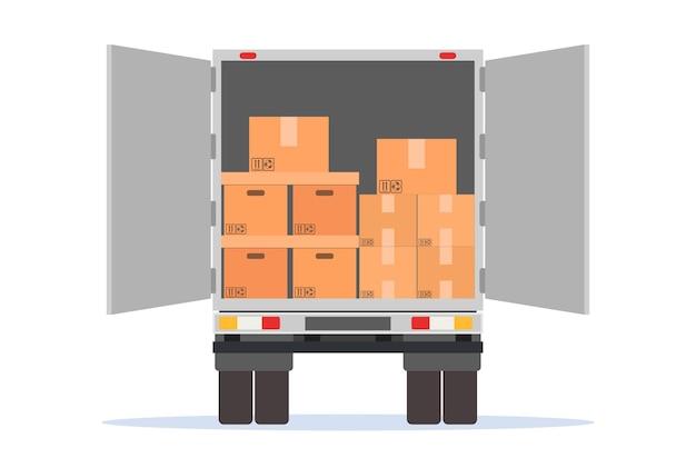 Trasloco. camion delle consegne aperto