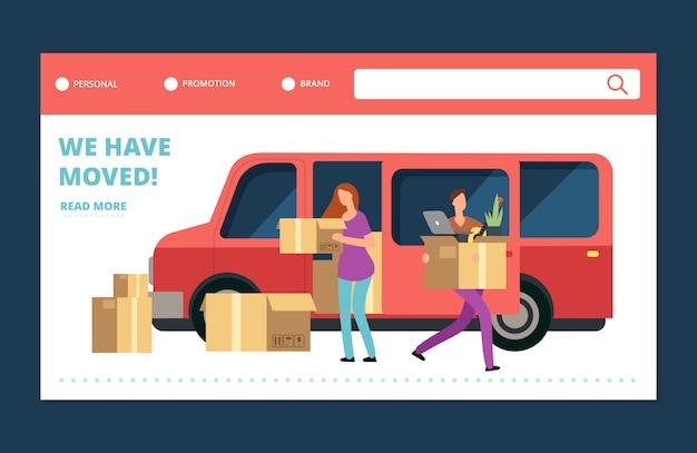 Banner web vettoriale di trasloco. abbiamo spostato il modello di pagina di destinazione