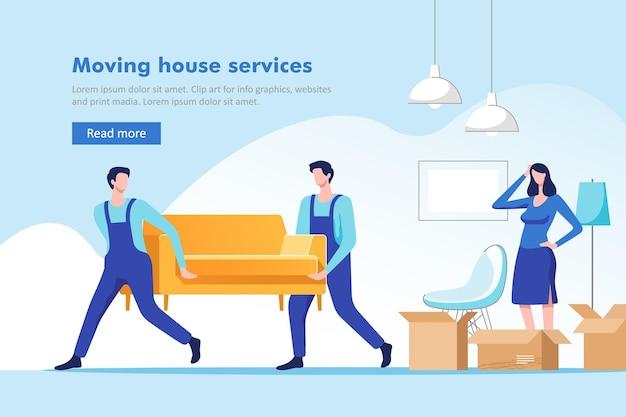 Trasloco. donna che fa le valigie per trasferirsi in una nuova casa o appartamento. uomini che trasportano divano e scatola di cartone.