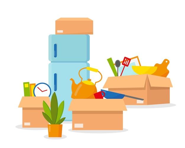 Trasferirsi in una nuova casa. scatole con piatti e frigo pronti per essere spostati. illustrazione isolati su sfondo bianco.