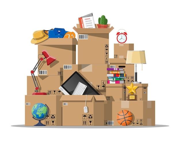 Trasferirsi in una nuova casa. famiglia trasferita in una nuova casa.