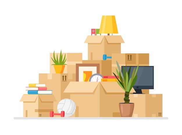 Trasferirsi nella nuova illustrazione della casa. mucchio del fumetto di scatole di cartone con cose domestiche