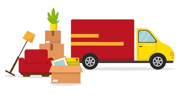 Trasferirsi in una nuova casa o in un ufficio. furgone per le consegne, poltrona e box pronti per lo spostamento.